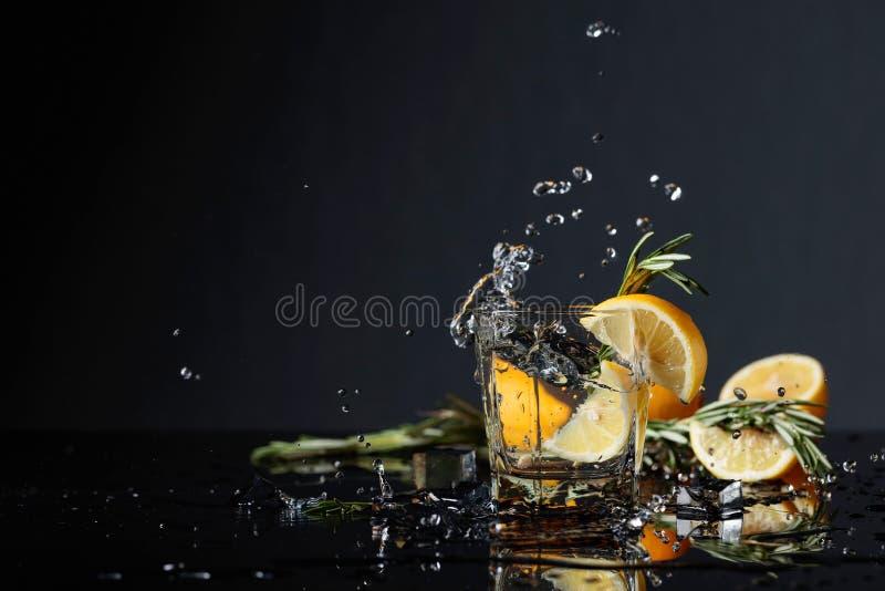 Cocktail jenever-tonicum met citroenplakken en takjes van rozemarijn royalty-vrije stock fotografie