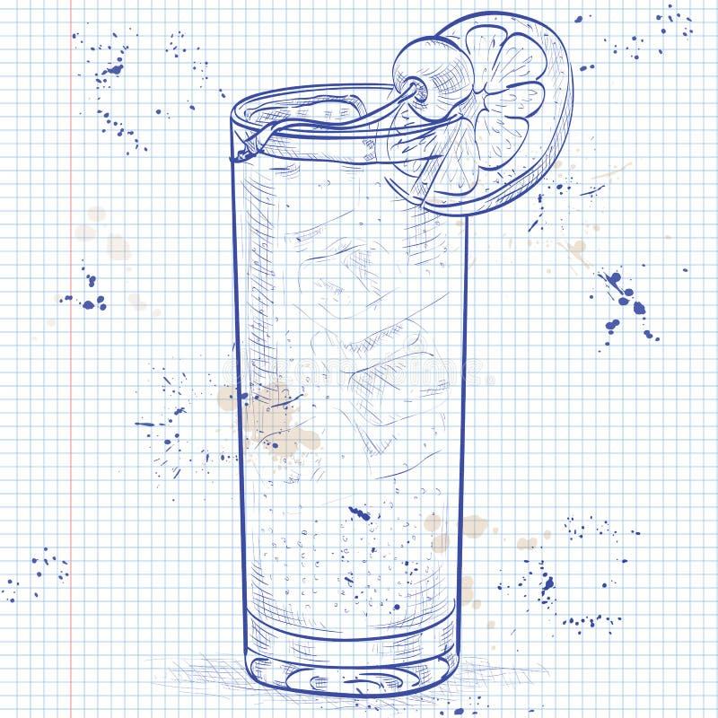 Cocktail John Collins ad una pagina del taccuino illustrazione di stock