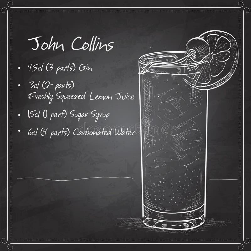 Cocktail John Collins sul bordo nero illustrazione vettoriale