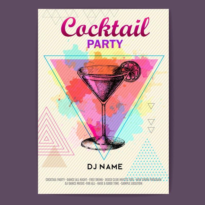 Cocktail kosmopolitisch auf künstlerischem Polygonaquarellhintergrund stock abbildung