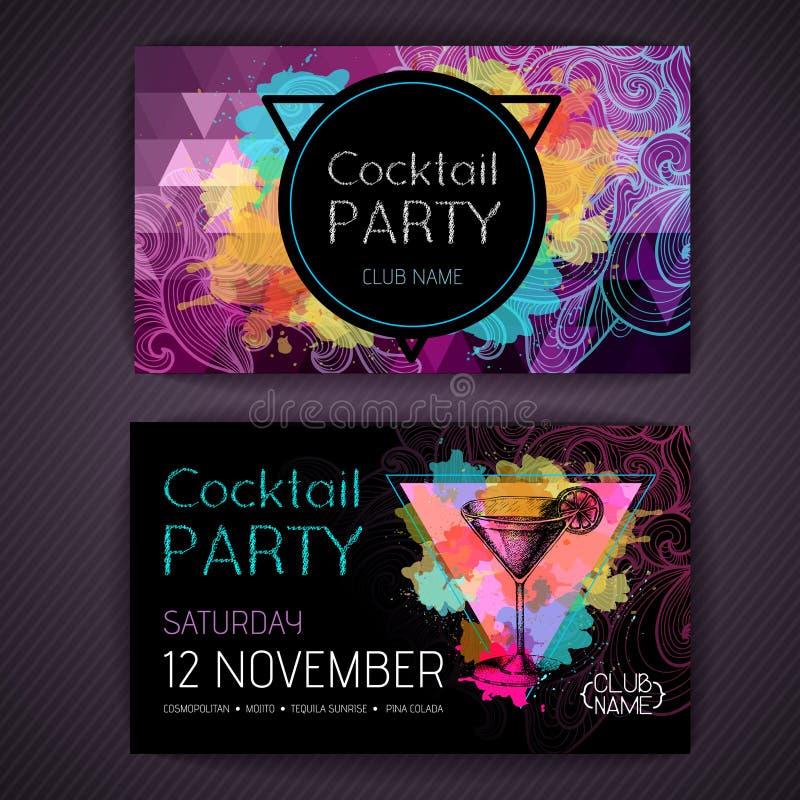 Cocktail kosmopolitisch auf künstlerischem Polygonaquarellhintergrund vektor abbildung