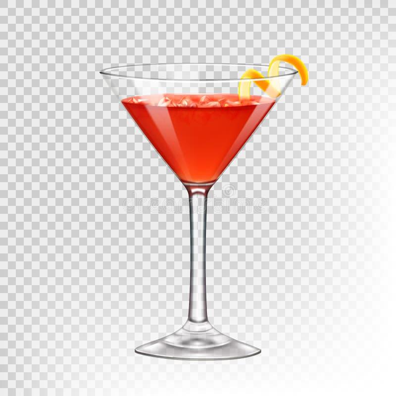 Cocktail Kosmopolitisch in een cocktailglas, dat met een citrusvruchtenspiraal wordt verfraaid royalty-vrije illustratie