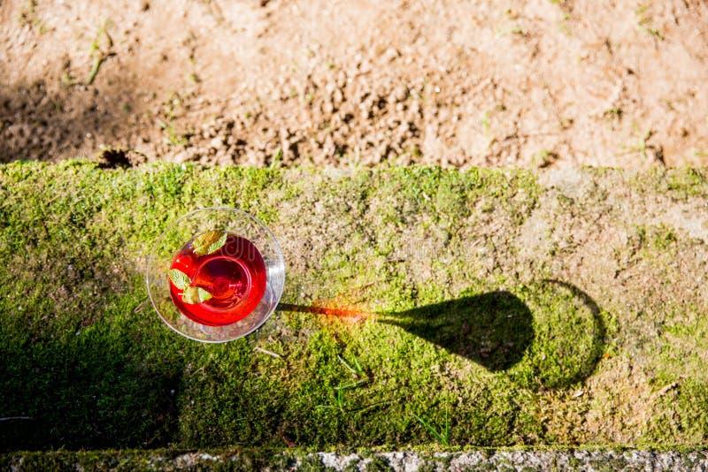 Cocktail Kosmopolitisch glas op de vloer met bezinning stock fotografie