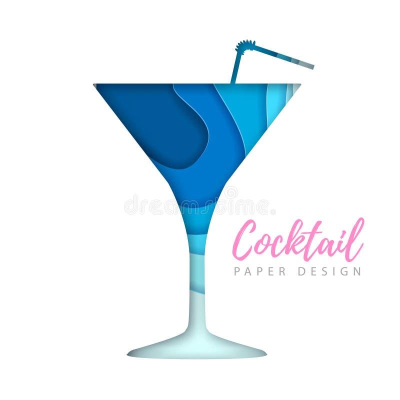 Cocktail kosmopolitisch silhouet Het verwijderde document ontwerp van de kunststijl vector illustratie