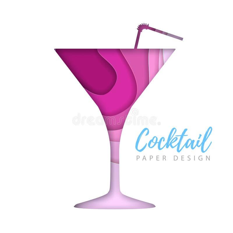 Cocktail kosmopolitisch silhouet Het verwijderde document ontwerp van de kunststijl stock illustratie