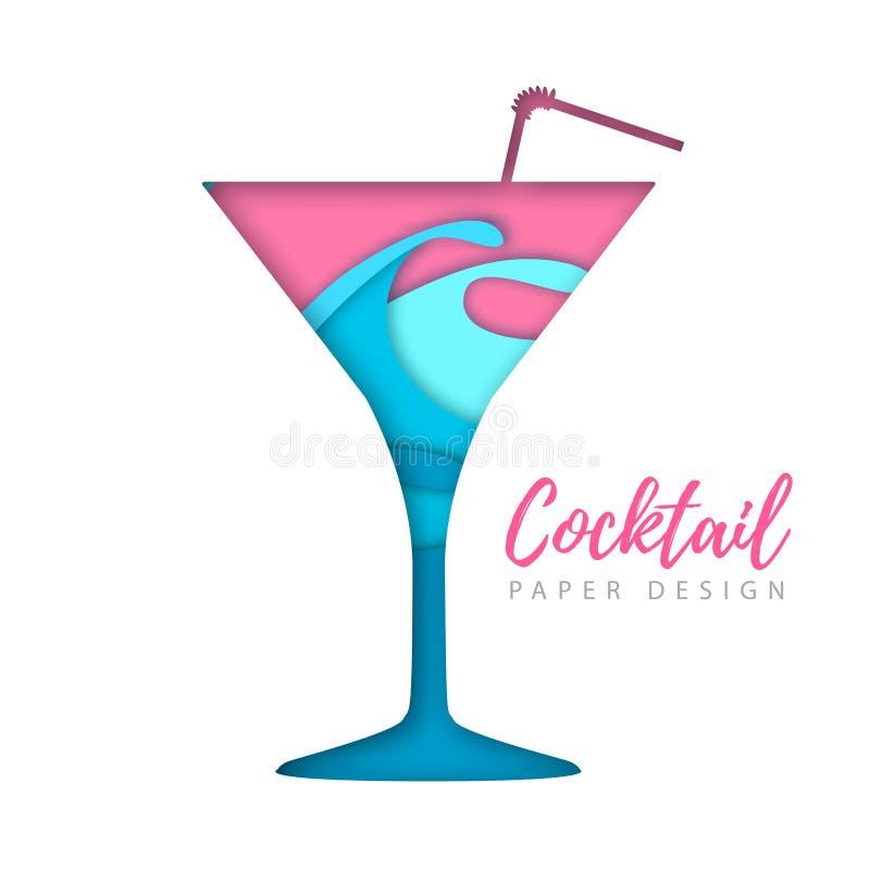 Cocktail kosmopolitisch silhouet Het verwijderde document ontwerp van de kunststijl royalty-vrije illustratie