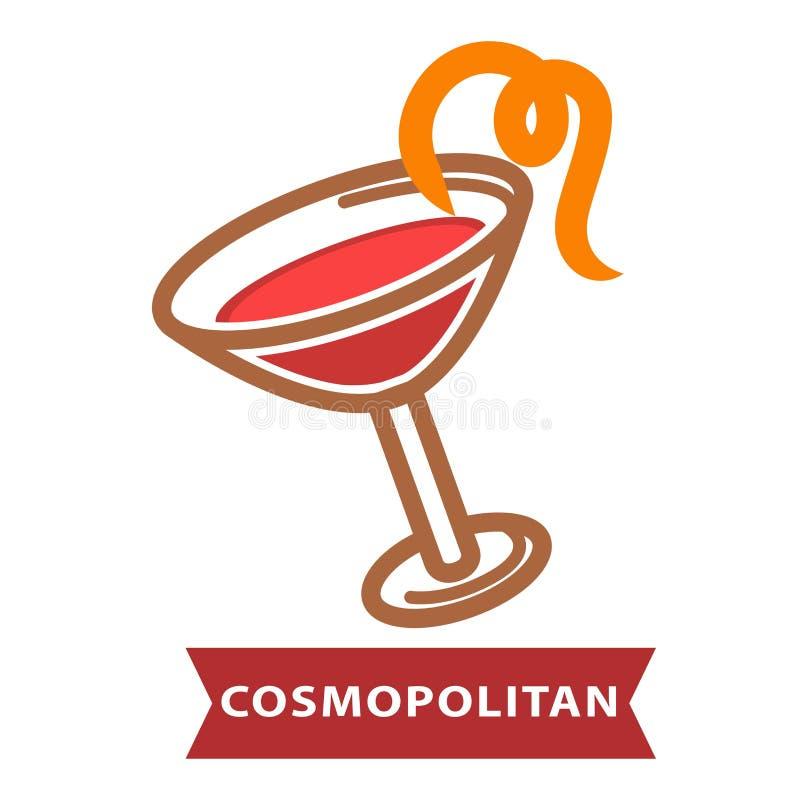Cocktail Kosmopolitisch van eigentijdse die schrijvers uit de klassieke oudheid met sinaasappelschil worden verfraaid royalty-vrije illustratie