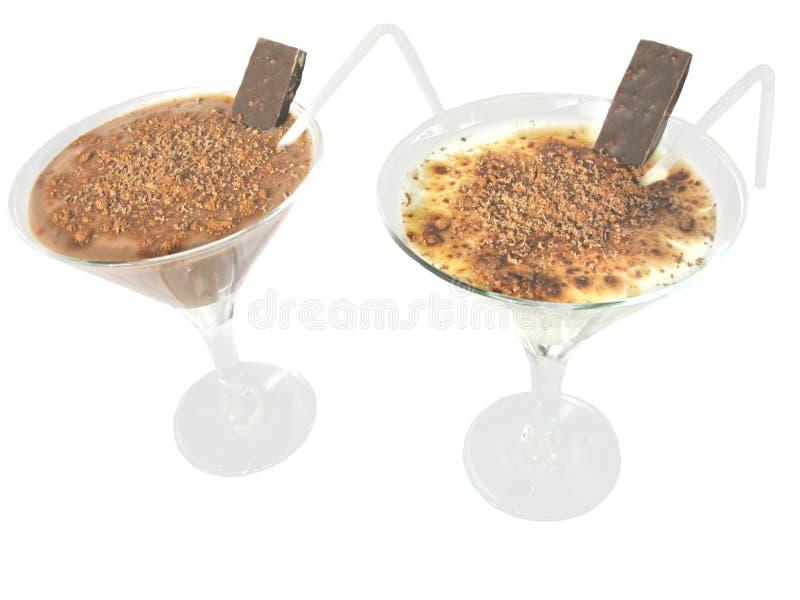Cocktail leitosos com chocolate fotos de stock