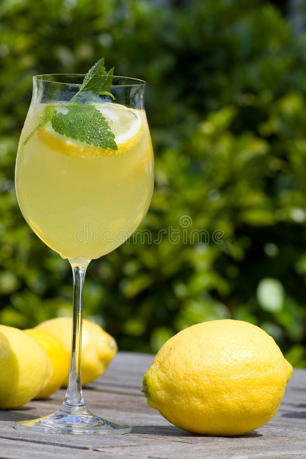 Cocktail with lemons in the garden royalty free stock photo