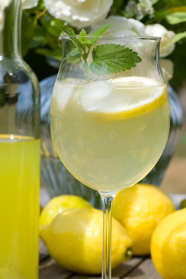Cocktail with lemons and limoncello stock photo
