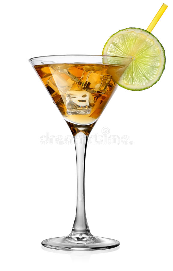 Cocktail with lime. In glass isolated on white stock images