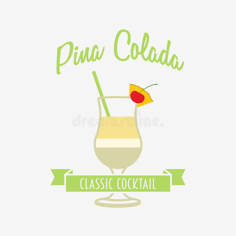 Pina Design cocktail logo badge or label design template with pina colada in