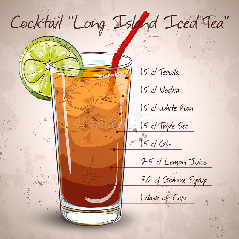 Cocktail Long Island Iced Tea stock illustration