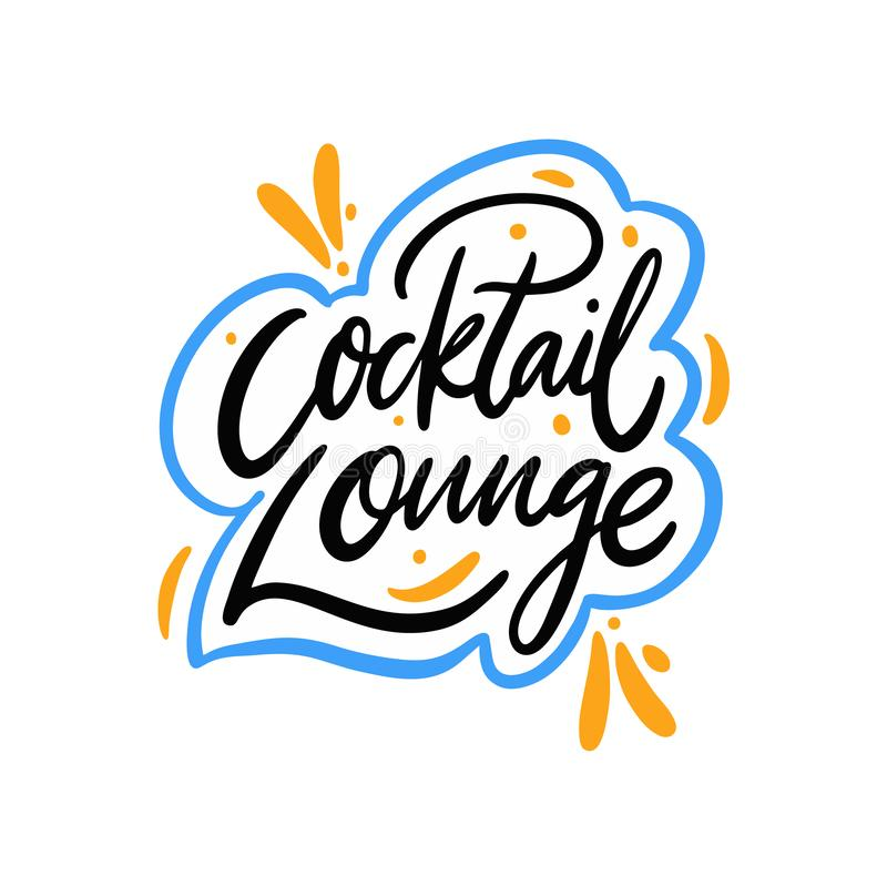 Cocktail Lounge hand drawn vector lettering. Isolated on white background stock illustration