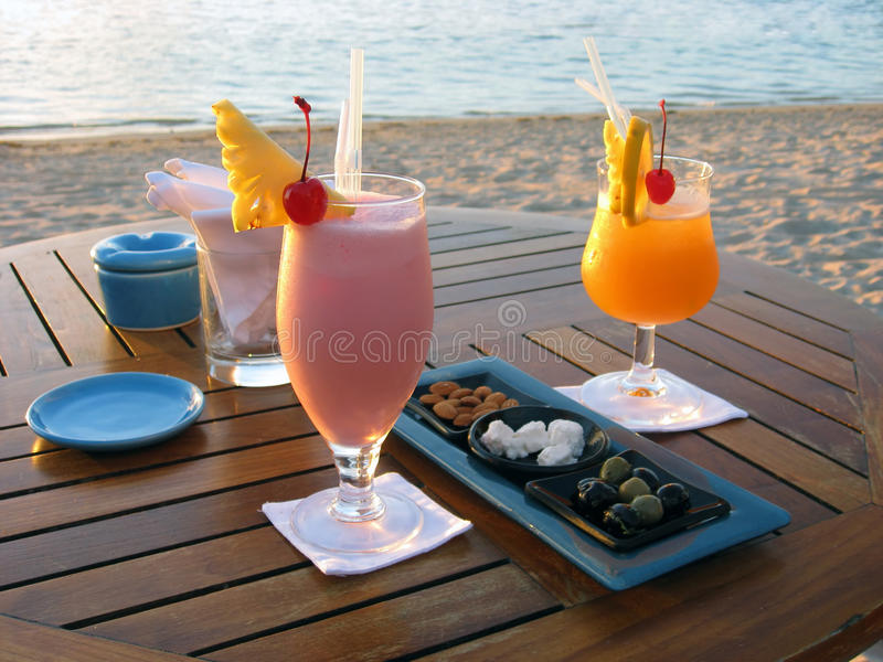 Cocktail for lovers by the beach in Mauritius stock image