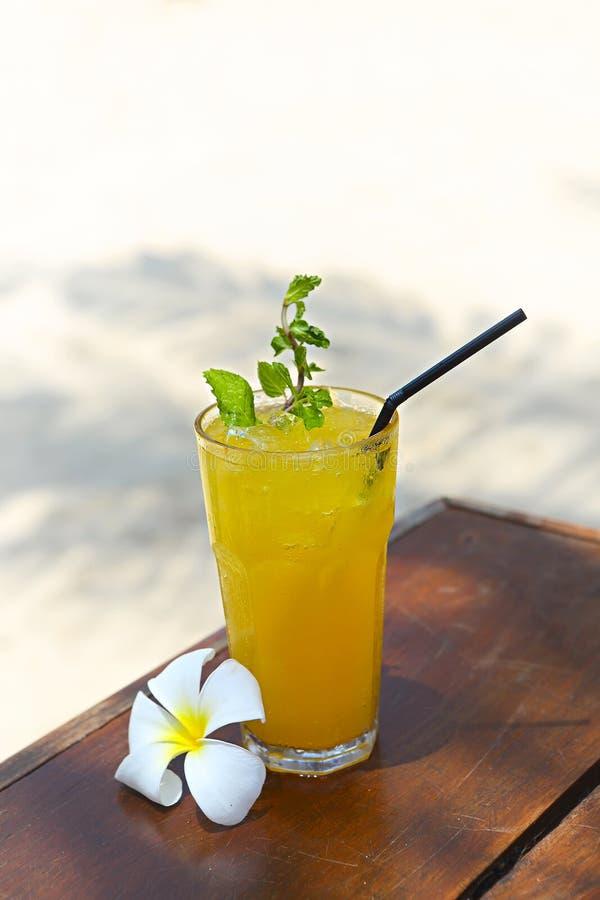 Cocktail Mai Tai mit hellem Rum, braunem Rum, orange Curaçao, Mandelsirup, Kalk, Eiswürfeln, Ananas und Minze lizenzfreies stockbild
