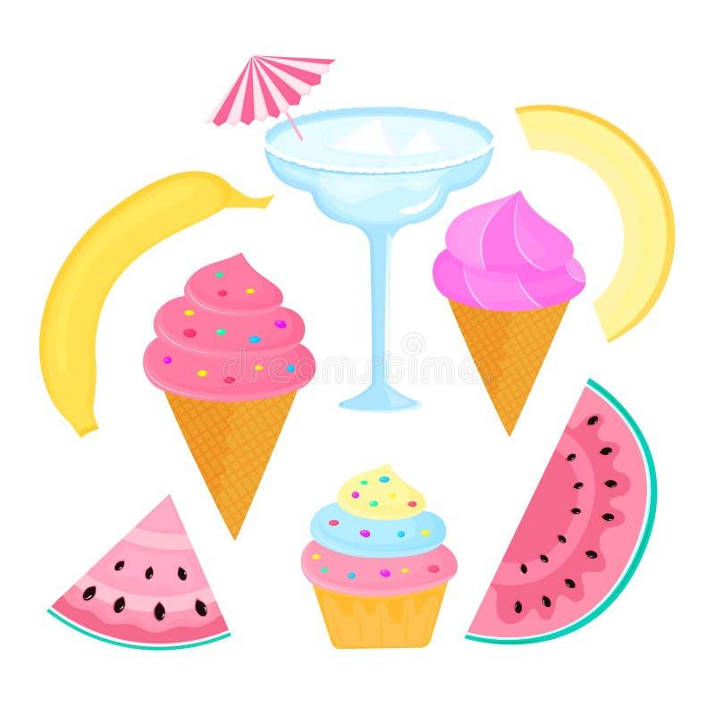 Cocktail, margarita, banana, melon, fruit, ice cream, cupcake, watermelon. Cocktail, margarita, banana, melon fruit ice cream cupcake and watermelon stock illustration