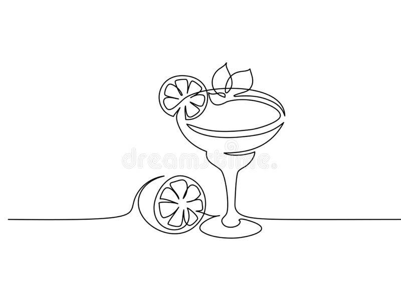 Cocktail margarita with lime Continuous one line. Continuous one line drawing. Cocktail margarita with lime and mint leaf. Vector illustration vector illustration