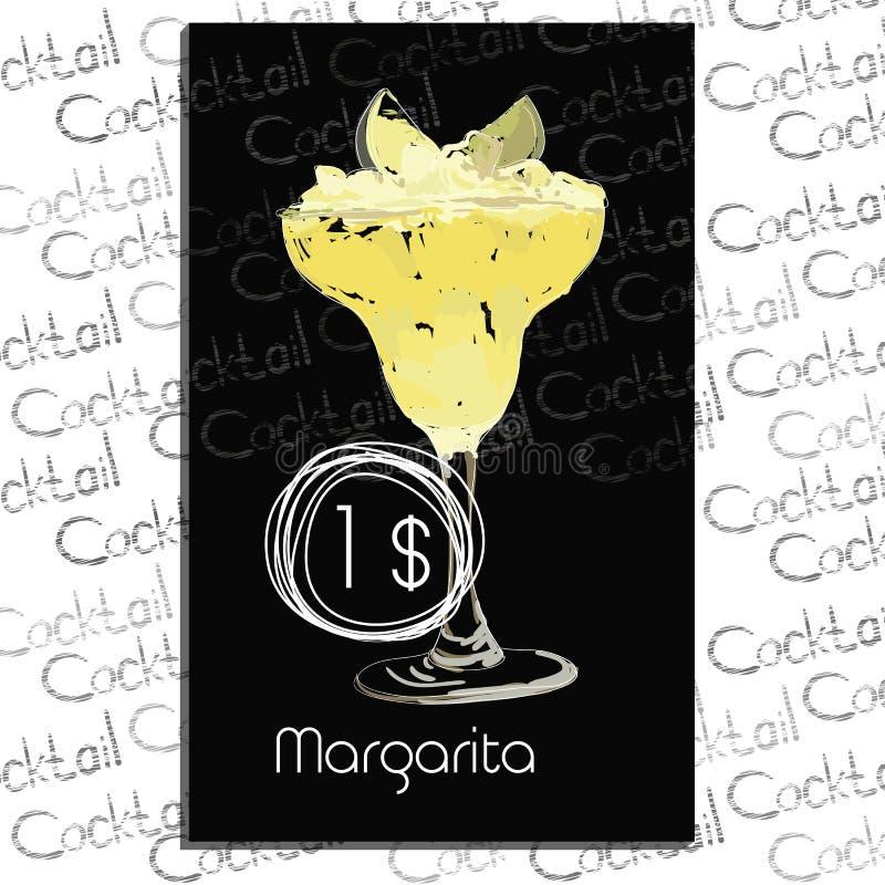 Cocktail Margarita mit Preis auf Kreidebrett Schablonenelemente für Cocktailbar stock abbildung