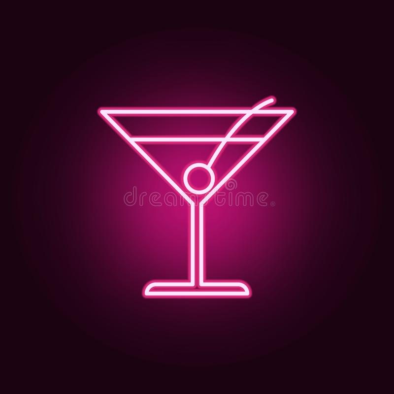 Cocktail Margarita neon icon. Elements of web set. Simple icon for websites, web design, mobile app, info graphics. On dark gradient background royalty free illustration