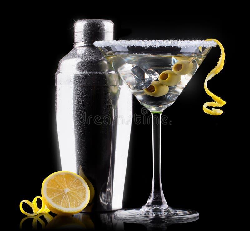 Cocktail martini sul nero immagini stock libere da diritti