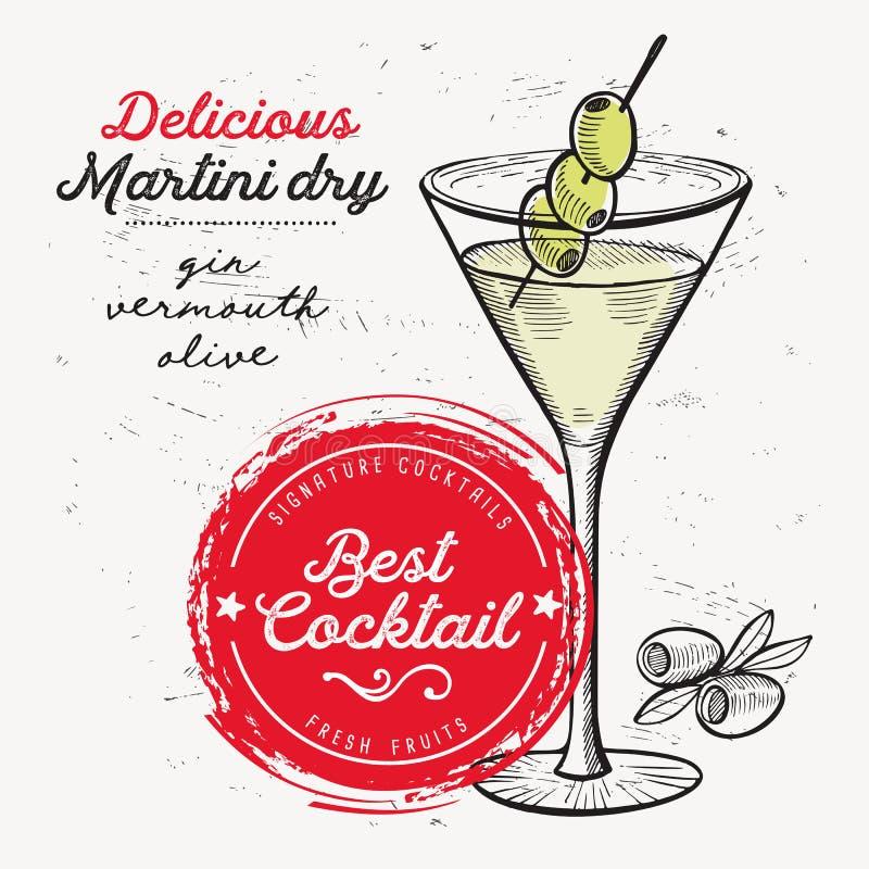 Cocktail Martini trocken, Getränkflieger für Bar lizenzfreie abbildung