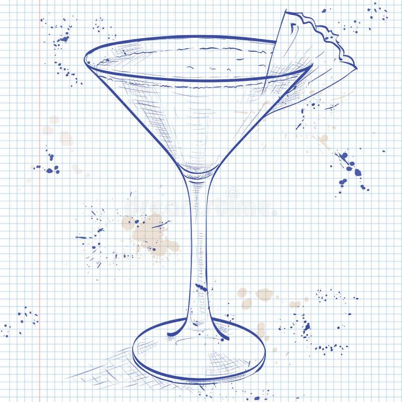Cocktail Mary Pickford ad una pagina del taccuino illustrazione vettoriale