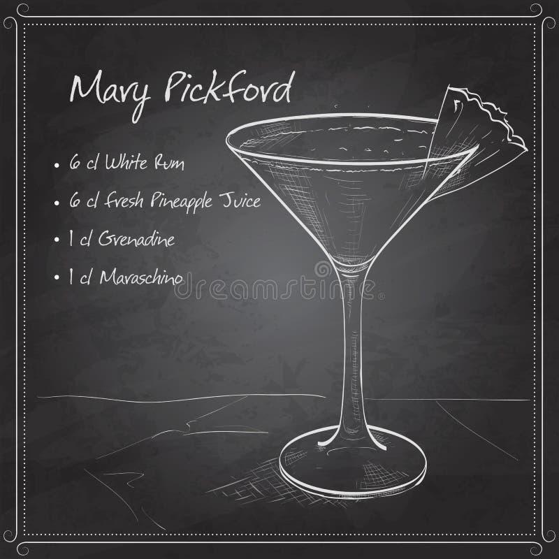 Cocktail Mary Pickford sul bordo nero illustrazione di stock