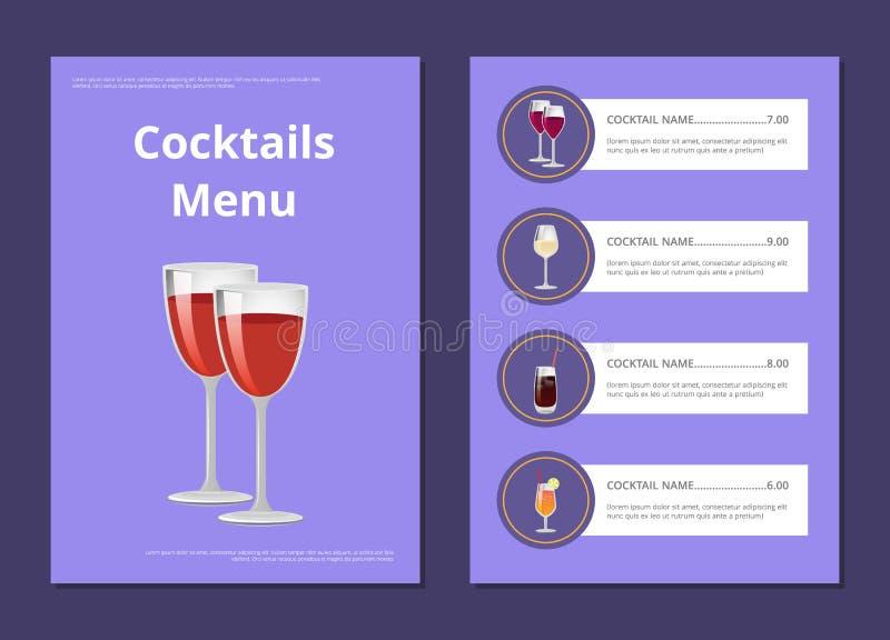 Cocktail-Menü-Abdeckungs-Design mit Liste von Getränken vektor abbildung