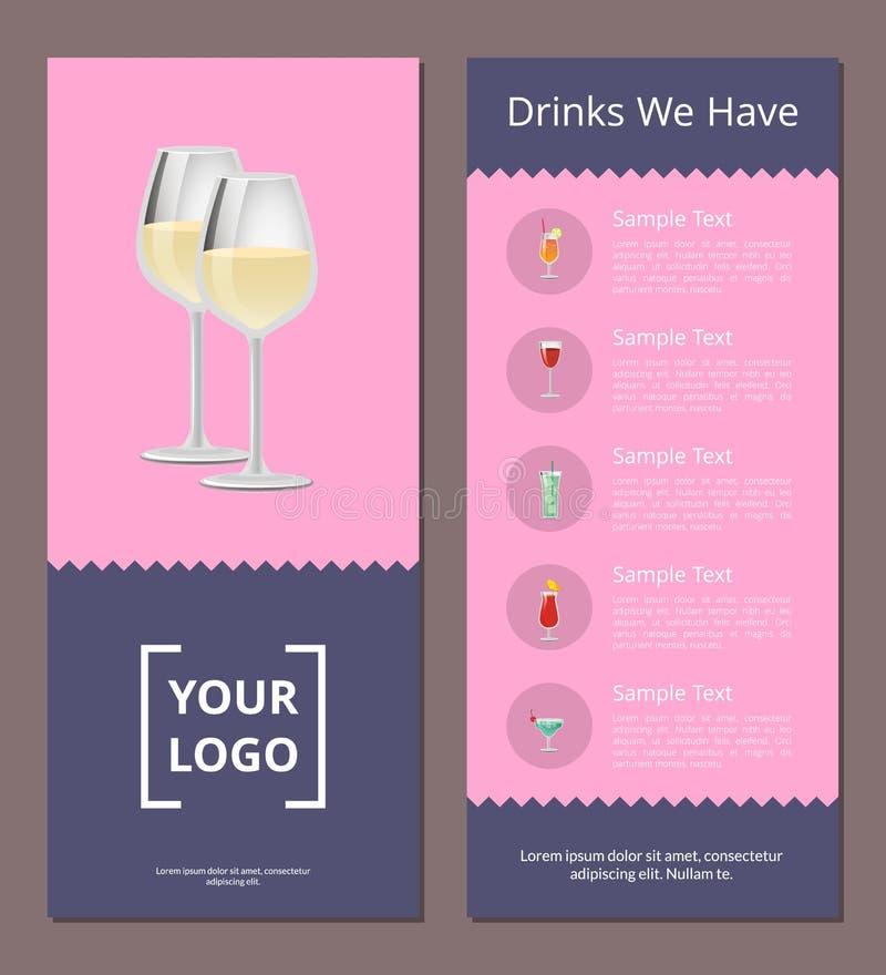 Cocktail-Menü-Abdeckungs-Design mit Liste von Getränken lizenzfreie abbildung