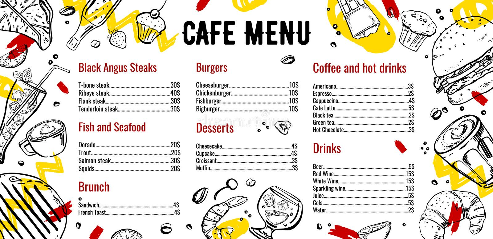 Cafe menu design template with list of steaks, fish,  burgers, drinks, coffee and deserts. Outline vector hand drawn sketch illustration with food black on vector illustration