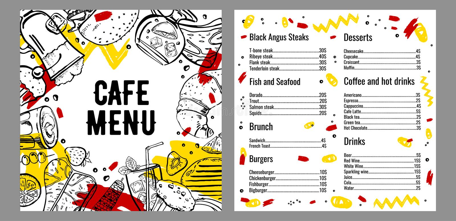 Cafe menu two page design template with list of steaks, fish, burgers, drinks, coffee and deserts. Outline vector hand drawn sketch illustration with food on royalty free illustration