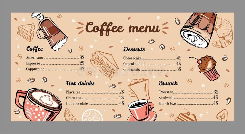 Coffee menu design template with list of hot drinks, brunch and desserts. Vector outline vintage hand drawn illustration vector illustration