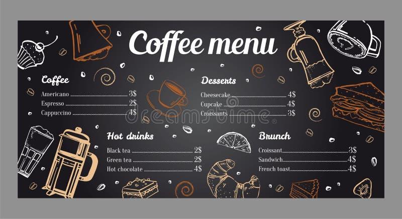 Coffee menu design template with list of hot drinks, brunch and desserts. Vector outline vintage hand drawn illustration on blackboard background royalty free illustration