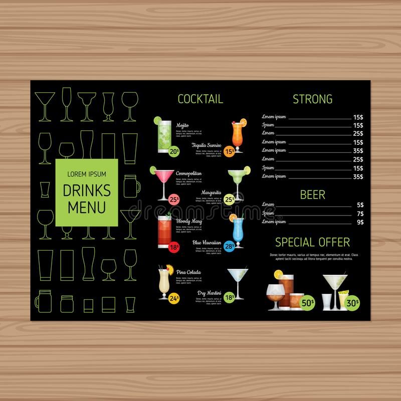 Cocktail menu design. Alcohol drinks tri-fold leaflet layout template. Bar menu brochure with modern graphic. Vector illustration. royalty free illustration