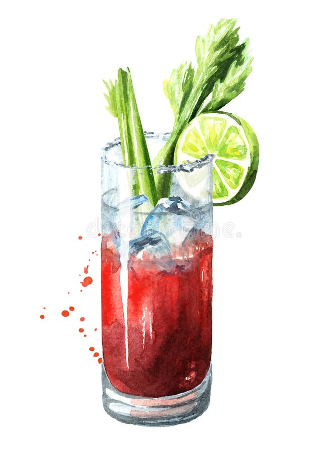 Cocktail met alcoholbloody mary met selderie Waterverfhand getrokken die illustratie, op witte achtergrond wordt geïsoleerd royalty-vrije illustratie