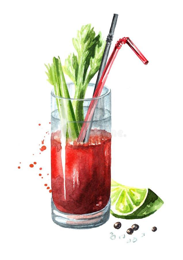 Cocktail met alcoholbloody mary met selderie Waterverfhand getrokken die illustratie op witte achtergrond wordt geïsoleerd stock illustratie