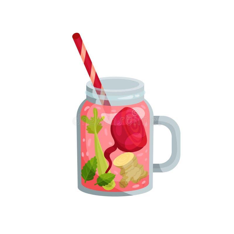 Cocktail met bieten, selderie, munt, gember in glas vector illustratie