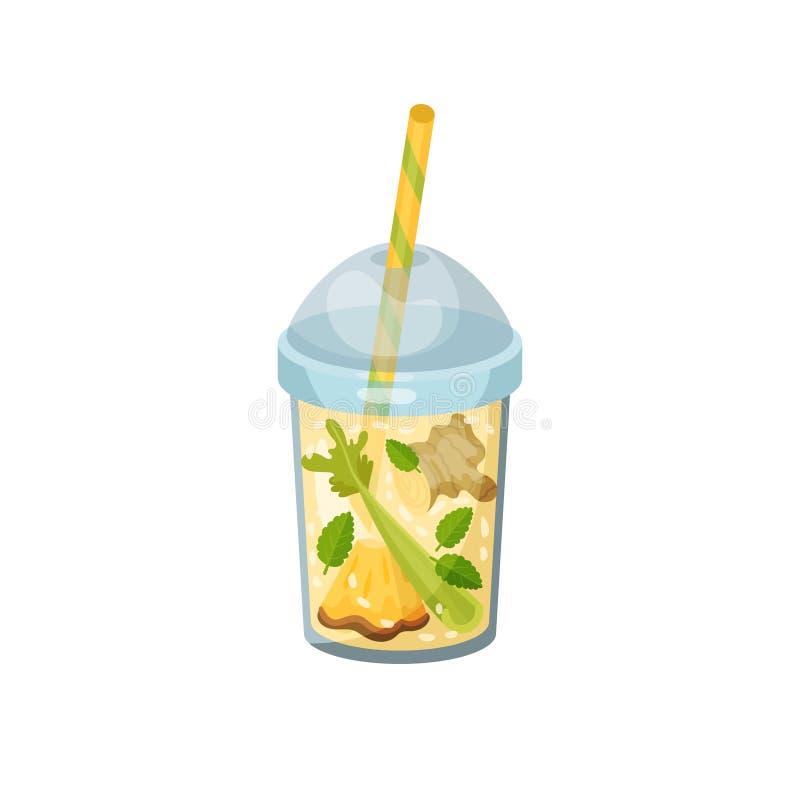 Cocktail met gember, anance, selderie, munt in glas stock illustratie