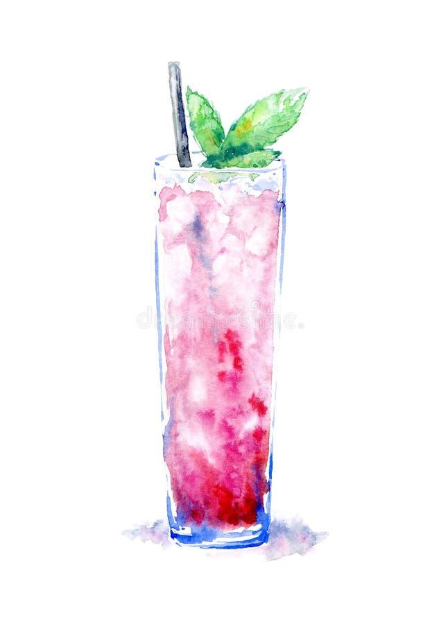Cocktail met ijsmunt Beeld van een alcoholische drank stock illustratie