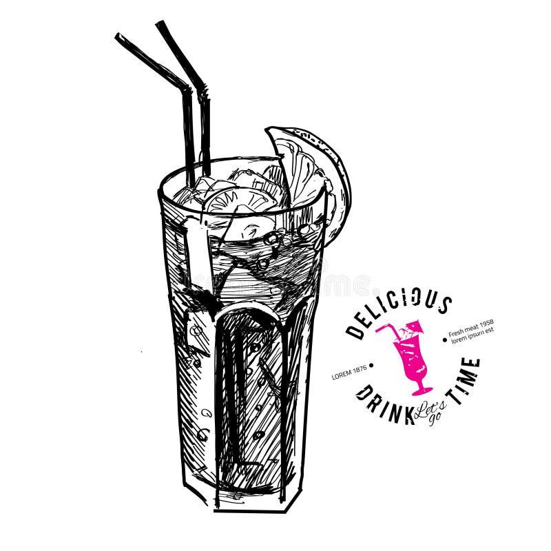 Cocktail met kola en geïsoleerde kalk royalty-vrije illustratie
