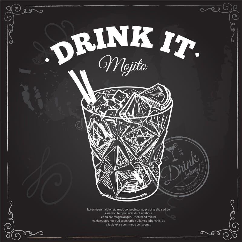 Cocktail met kola en kalk vector illustratie