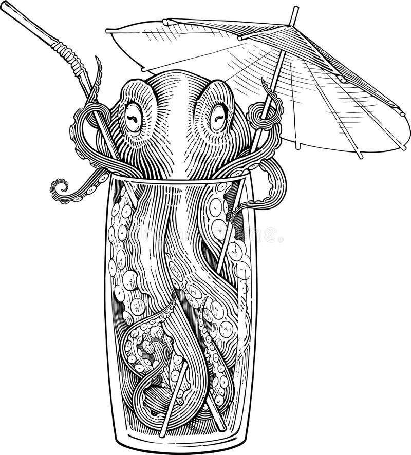 Cocktail met octopus royalty-vrije stock afbeeldingen