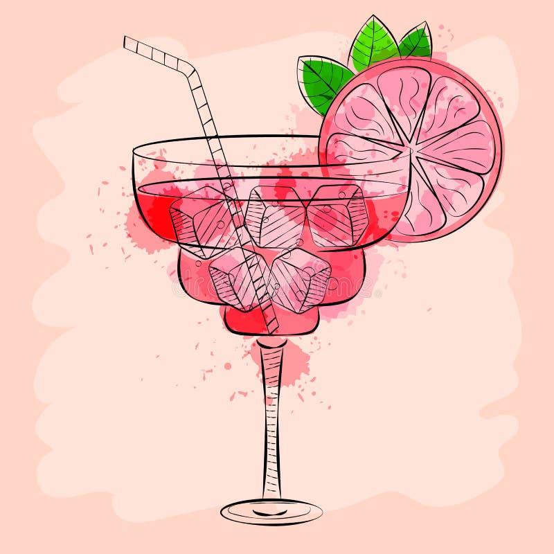 Cocktail met roze grapefruithand getrokken vectorillustratie vector illustratie