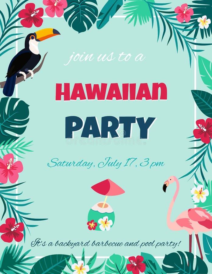 Cocktail mit Hibiscusblumen und -palmblättern Einladung, Fahne, Karte, Plakat, Flieger stock abbildung