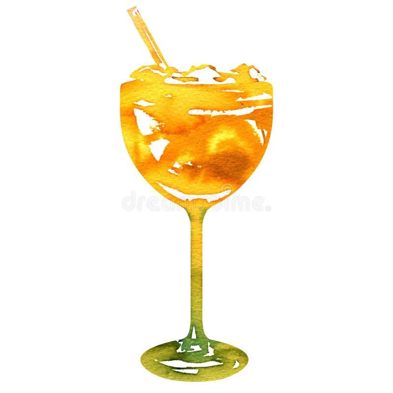 Cocktail mit Orange und Eis, alkoholisches Getränk, Erfrischung, Parteigetränk, lokalisiert, Handgezogene Aquarellillustration stock abbildung