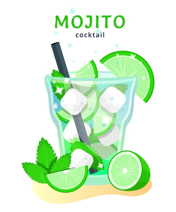 Tropical beach bar. Popular alcoholic cocktail. exotic tropical beach bar. fresh drink in glass cup with lime, mint. modern flat cartoon vector illustration royalty free illustration