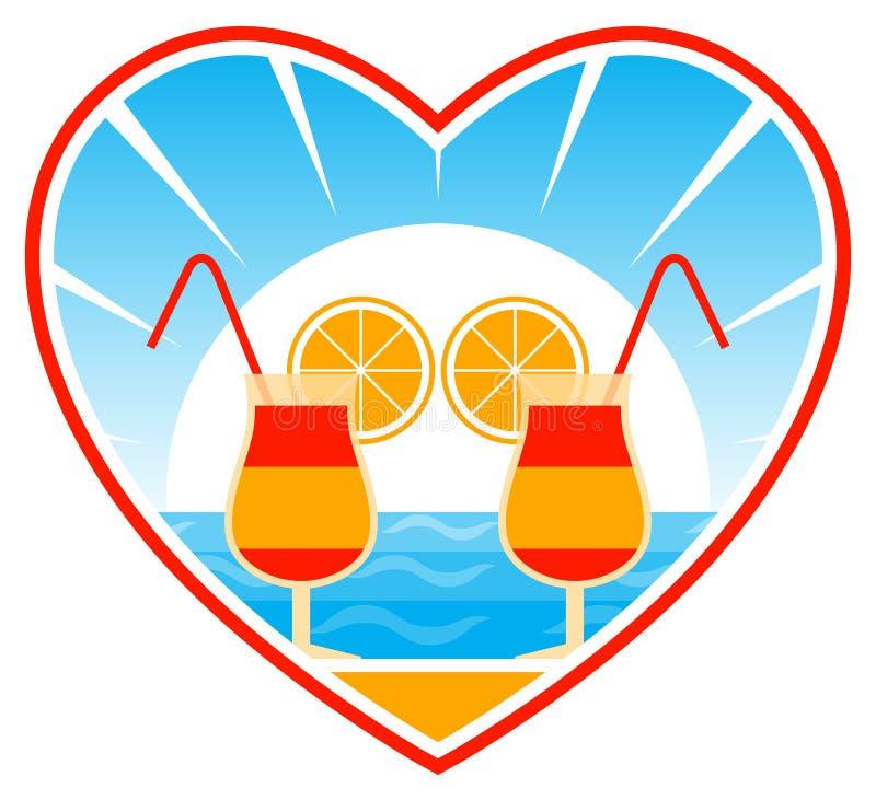 Cocktail na praia no coração ilustração royalty free