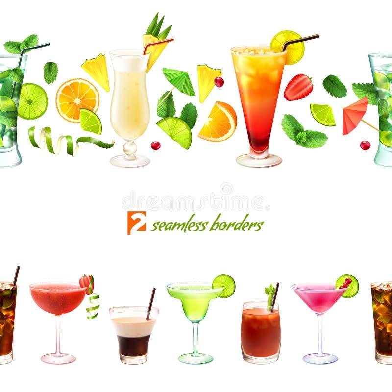 Cocktail naadloze grens vector illustratie