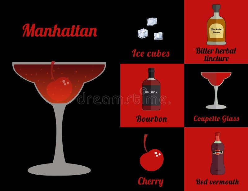 Cocktail no quadrado ilustração do vetor